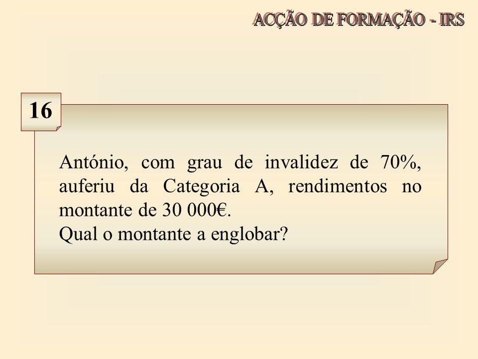 António, com grau de invalidez de 70%, auferiu da Categoria A, rendimentos no montante de 30 000. Qual o montante a englobar? 16