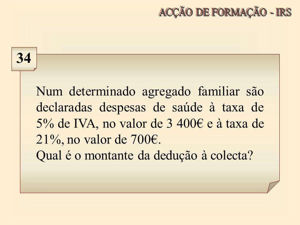 Num determinado agregado familiar são declaradas despesas de saúde à taxa de 5% de IVA, no valor de 3 400 e à taxa de 21%, no valor de 700. Qual é o m