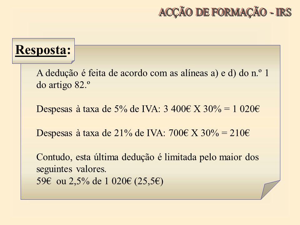 A dedução é feita de acordo com as alíneas a) e d) do n.º 1 do artigo 82.º Despesas à taxa de 5% de IVA: 3 400 X 30% = 1 020 Despesas à taxa de 21% de