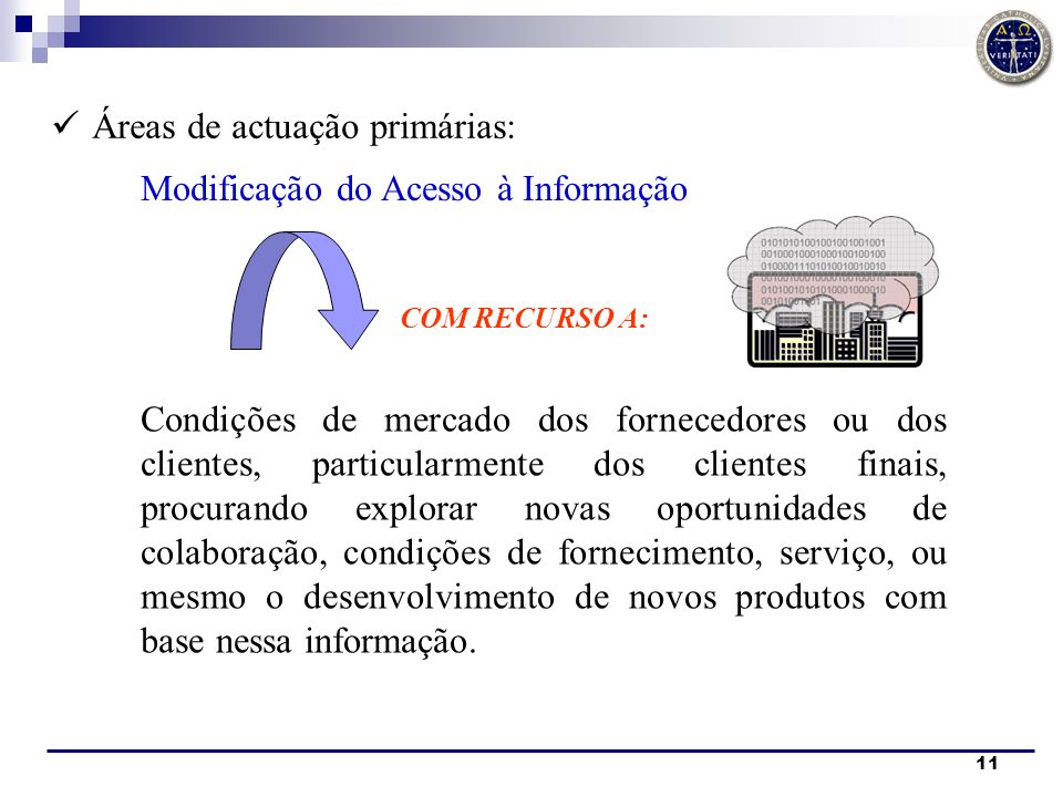 11 Áreas de actuação primárias: COM RECURSO A: Condições de mercado dos fornecedores ou dos clientes, particularmente dos clientes finais, procurando