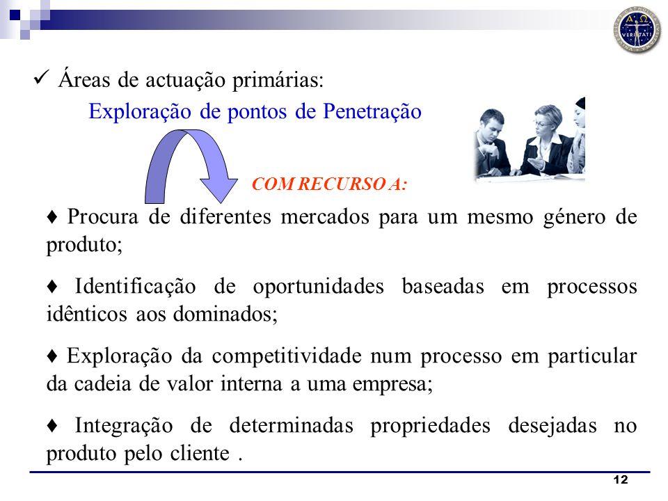 12 Áreas de actuação primárias: COM RECURSO A: Exploração de pontos de Penetração Procura de diferentes mercados para um mesmo género de produto; Iden