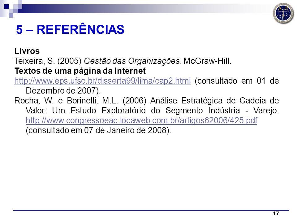 17 Livros Teixeira, S. (2005) Gestão das Organizações. McGraw-Hill. Textos de uma página da Internet http://www.eps.ufsc.br/disserta99/lima/cap2.htmlh