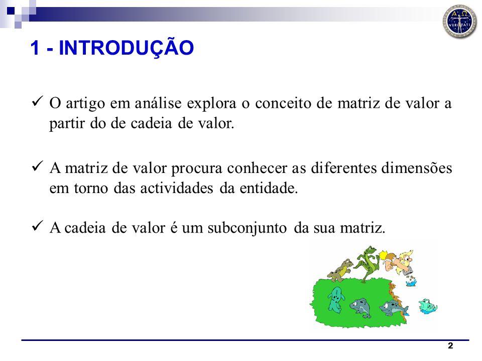 2 O artigo em análise explora o conceito de matriz de valor a partir do de cadeia de valor. A matriz de valor procura conhecer as diferentes dimensões