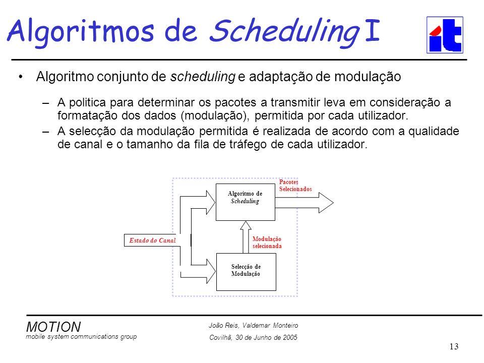 MOTION mobile system communications group João Reis, Valdemar Monteiro Covilhã, 30 de Junho de 2005 13 Algoritmos de Scheduling I Algoritmo conjunto de scheduling e adaptação de modulação –A politica para determinar os pacotes a transmitir leva em consideração a formatação dos dados (modulação), permitida por cada utilizador.