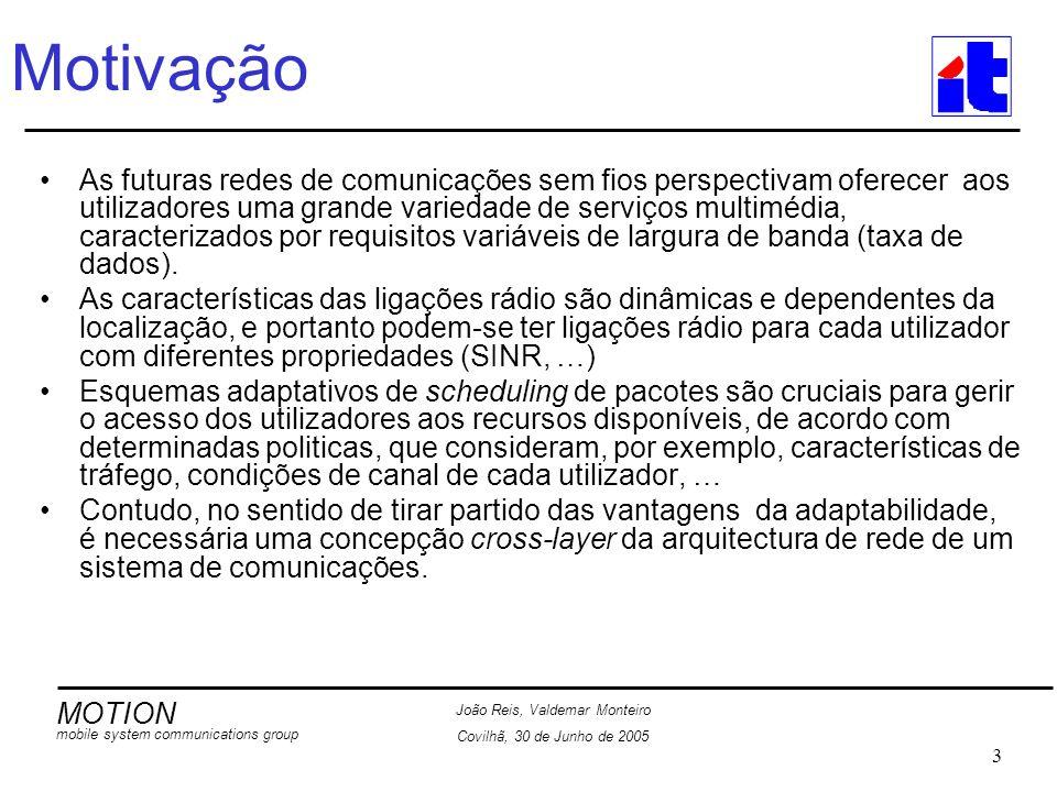 MOTION mobile system communications group João Reis, Valdemar Monteiro Covilhã, 30 de Junho de 2005 14 Resultados Experimentais Ilustrativos Função de distribuição cumulativa (CDF) para o atraso na entrega dos pacotes O algoritmo Adaptação de modulação ultrapassa, significativamente, o desempenho do algoritmo designado por máximo throughput, em termos do atraso máximo de pacote.