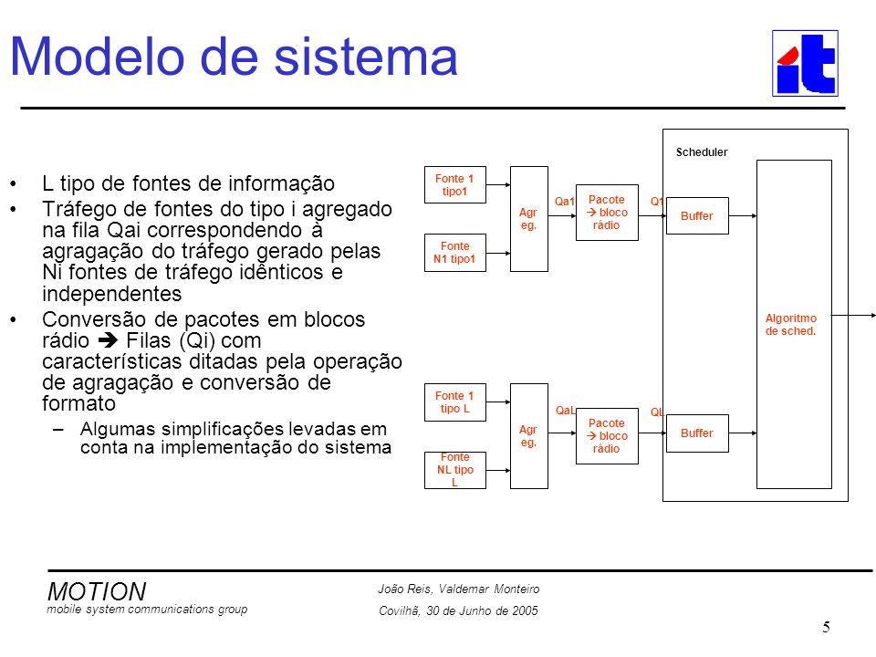 MOTION mobile system communications group João Reis, Valdemar Monteiro Covilhã, 30 de Junho de 2005 6 Modelo de sistema Simplificações –Buffers de tamanho infinito –Segmentação dos pacotes não altera a estatística das filas Qi Pacotes com tamanho original fixo