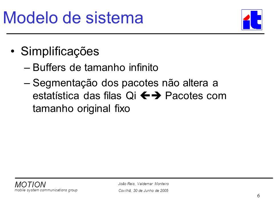 MOTION mobile system communications group João Reis, Valdemar Monteiro Covilhã, 30 de Junho de 2005 17 Interface IP - Conceito Interface de simuladores de sistema com a rede IP Interface através de ficheiros de captura Tráfego baseado no IP v6 Parâmetros extraídos dos pacotes capturados: –Endereço da fonte Inteiro de 0 a núm.