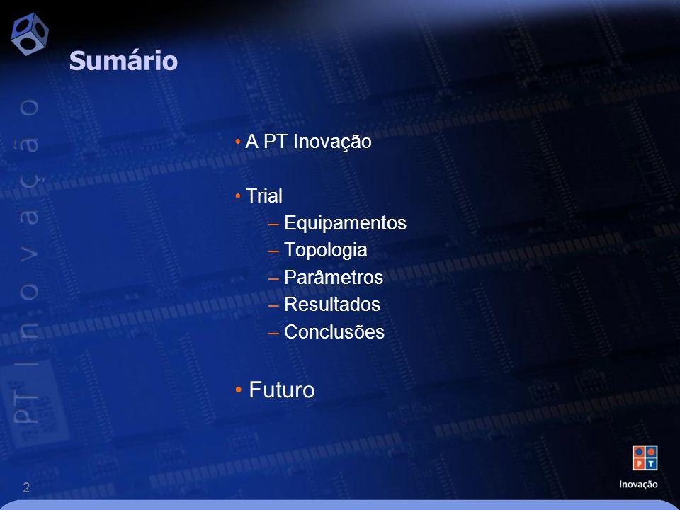 2 A PT Inovação Trial – Equipamentos – Topologia – Parâmetros – Resultados – Conclusões Futuro Sumário
