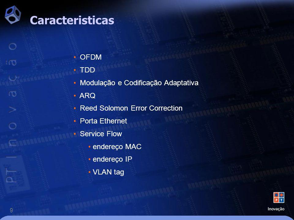 9 Caracteristicas OFDM TDD Modulação e Codificação Adaptativa ARQ Reed Solomon Error Correction Porta Ethernet Service Flow endereço MAC endereço IP VLAN tag