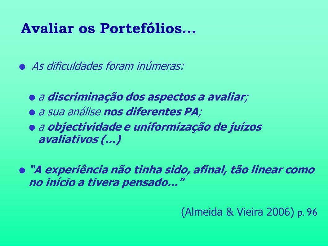 Avaliar os Portefólios… As dificuldades foram inúmeras: a discriminação dos aspectos a avaliar; a sua análise nos diferentes PA; a objectividade e uni