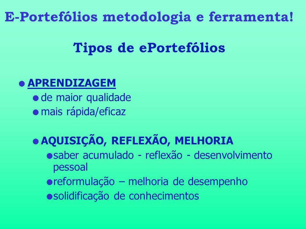 E-Portefólios metodologia e ferramenta! Tipos de ePortefólios APRENDIZAGEM de maior qualidade mais rápida/eficaz AQUISIÇÃO, REFLEXÃO, MELHORIA saber a