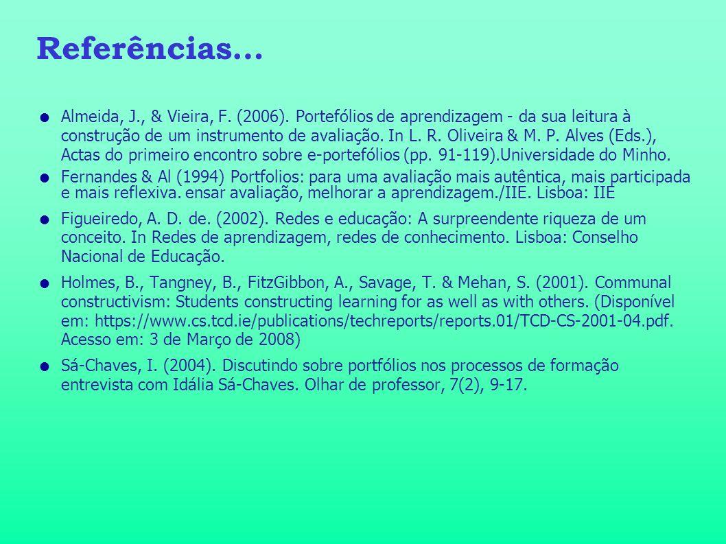 Referências… Almeida, J., & Vieira, F. (2006). Portefólios de aprendizagem - da sua leitura à construção de um instrumento de avaliação. In L. R. Oliv