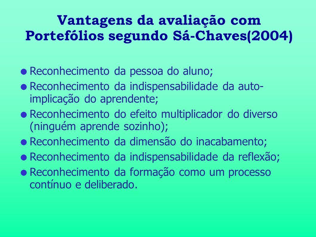 Vantagens da avaliação com Portefólios segundo Sá-Chaves(2004) Reconhecimento da pessoa do aluno; Reconhecimento da indispensabilidade da auto- implic