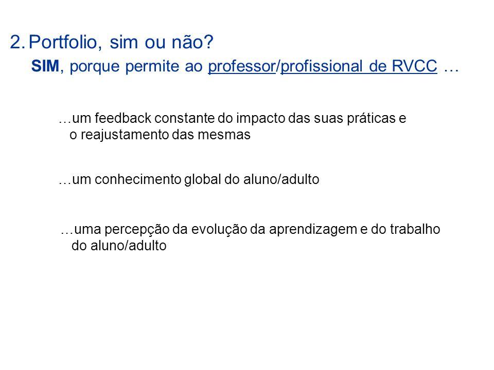 2.Portfolio, sim ou não? SIM, porque permite ao professor/profissional de RVCC … …um conhecimento global do aluno/adulto …um feedback constante do imp