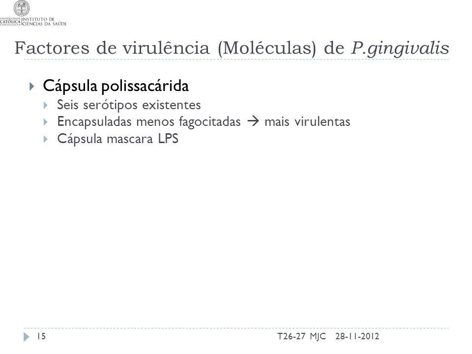 Cápsula polissacárida Seis serótipos existentes Encapsuladas menos fagocitadas mais virulentas Cápsula mascara LPS 28-11-201215T26-27 MJC Factores de