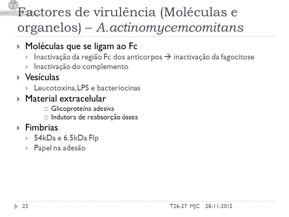 Factores de virulência (Moléculas e organelos) – A.actinomycemcomitans 28-11-2012T26-27 MJC23 Moléculas que se ligam ao Fc Inactivação da região Fc do