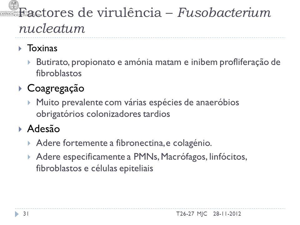 Factores de virulência – Fusobacterium nucleatum Toxinas Butirato, propionato e amónia matam e inibem profliferação de fibroblastos Coagregação Muito