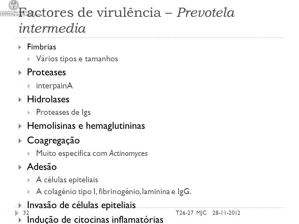 Factores de virulência – Prevotela intermedia Fimbrias Vários tipos e tamanhos Proteases interpainA Hidrolases Proteases de Igs Hemolisinas e hemaglut