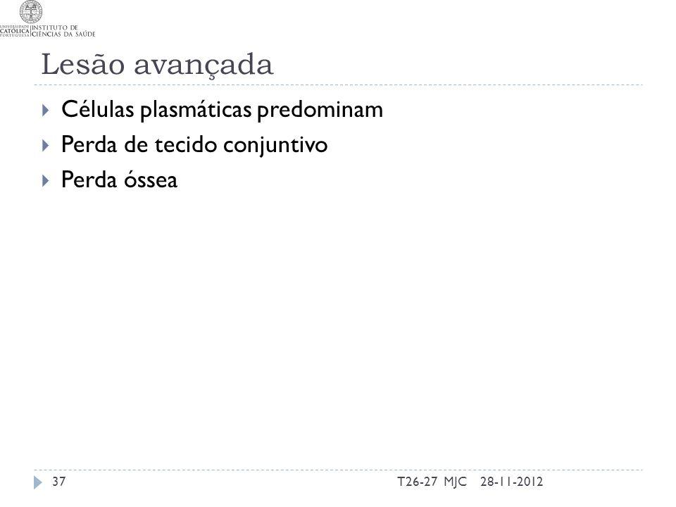 Lesão avançada Células plasmáticas predominam Perda de tecido conjuntivo Perda óssea 28-11-201237T26-27 MJC