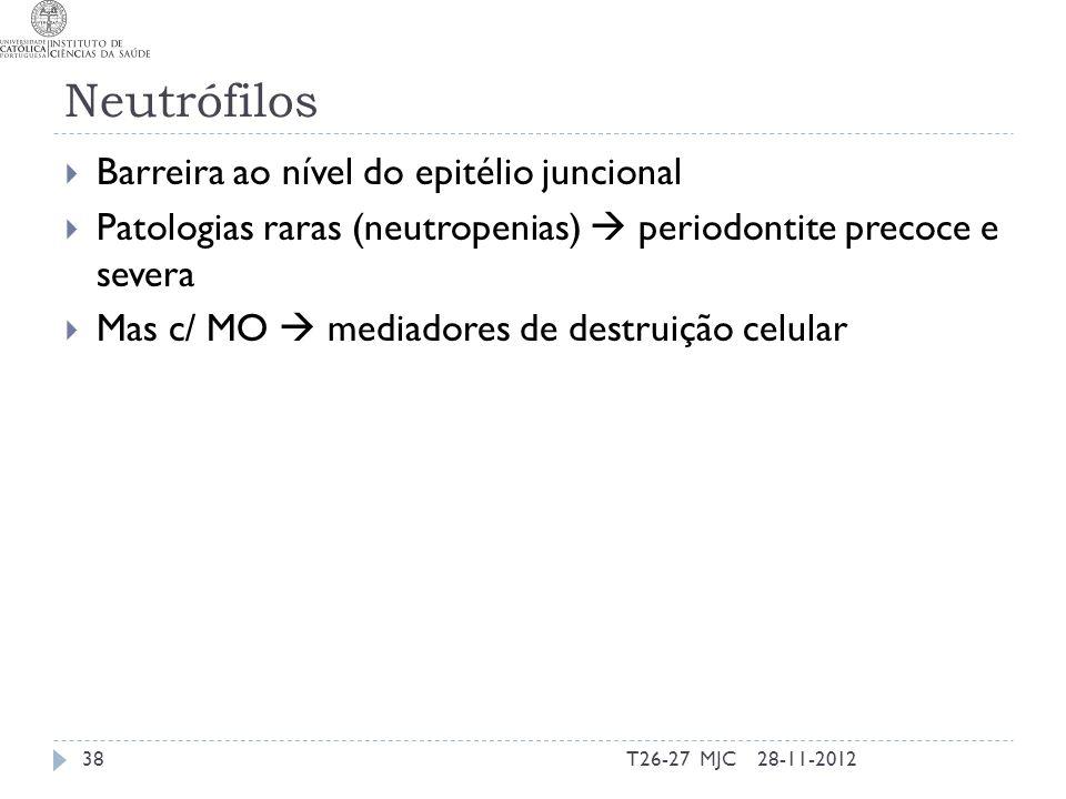 Neutrófilos Barreira ao nível do epitélio juncional Patologias raras (neutropenias) periodontite precoce e severa Mas c/ MO mediadores de destruição c
