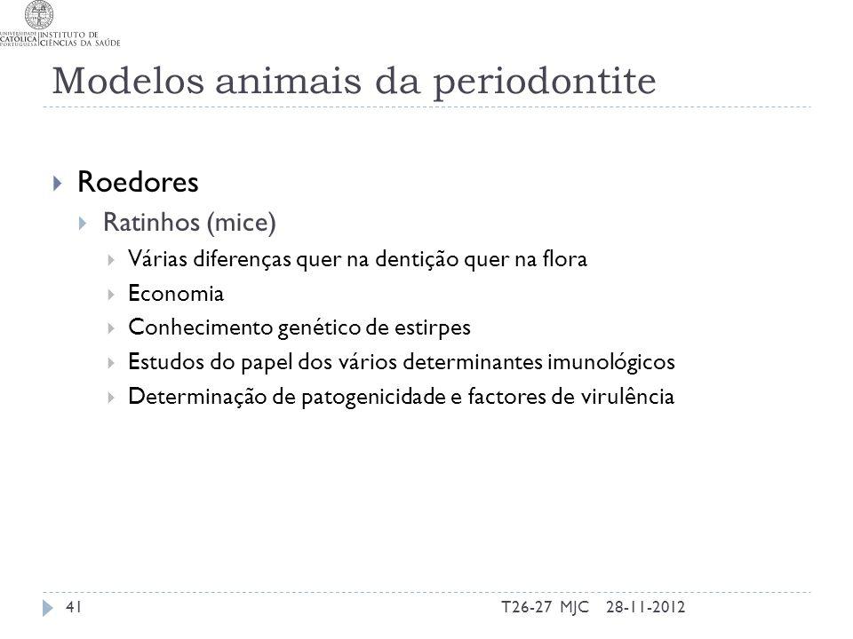 Modelos animais da periodontite Roedores Ratinhos (mice) Várias diferenças quer na dentição quer na flora Economia Conhecimento genético de estirpes E