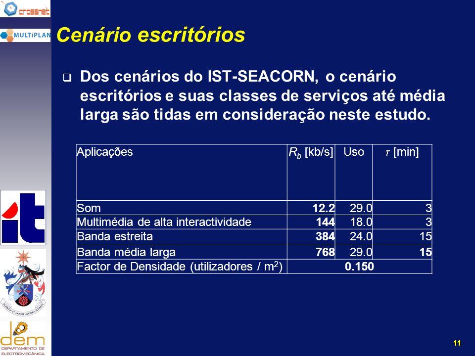 11 Cenário escritórios Dos cenários do IST-SEACORN, o cenário escritórios e suas classes de serviços até média larga são tidas em consideração neste estudo.