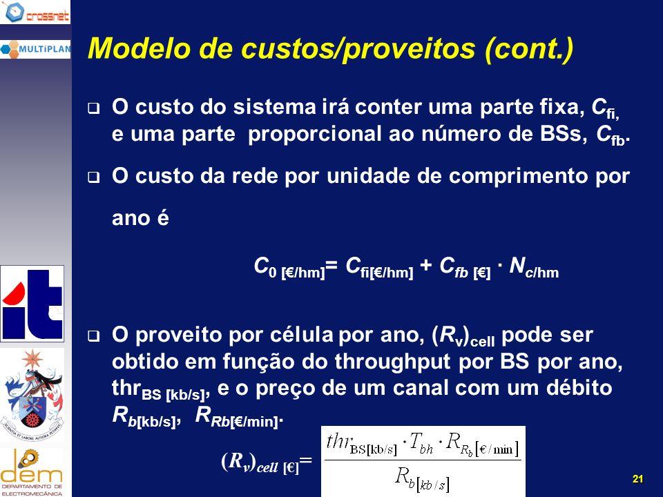 21 Modelo de custos/proveitos (cont.) O custo do sistema irá conter uma parte fixa, C fi, e uma parte proporcional ao número de BSs, C fb.