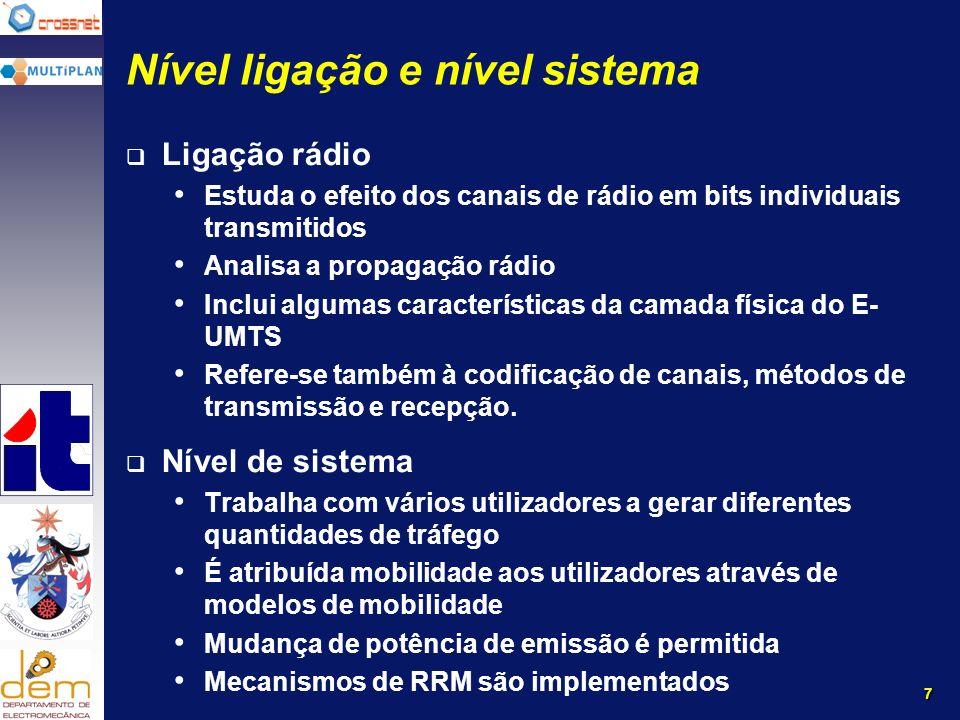 7 Nível ligação e nível sistema Ligação rádio Estuda o efeito dos canais de rádio em bits individuais transmitidos Analisa a propagação rádio Inclui algumas características da camada física do E- UMTS Refere-se também à codificação de canais, métodos de transmissão e recepção.
