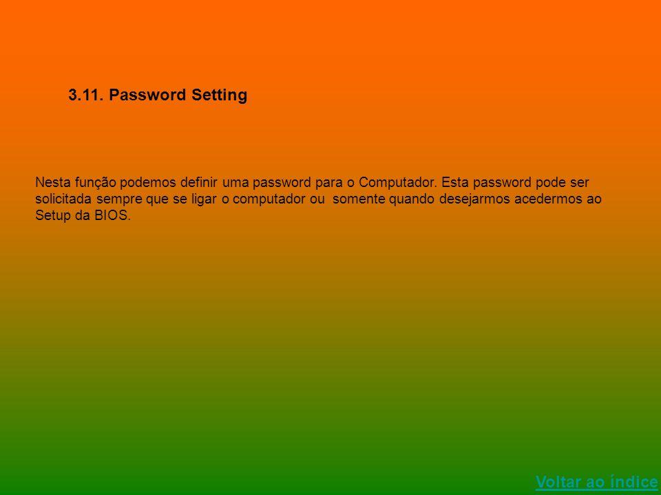 Voltar ao índice 3.11. Password Setting Nesta função podemos definir uma password para o Computador. Esta password pode ser solicitada sempre que se l