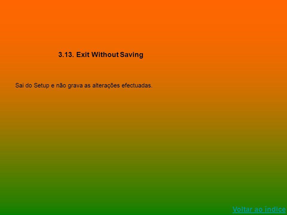 Voltar ao índice 3.13. Exit Without Saving Sai do Setup e não grava as alterações efectuadas.