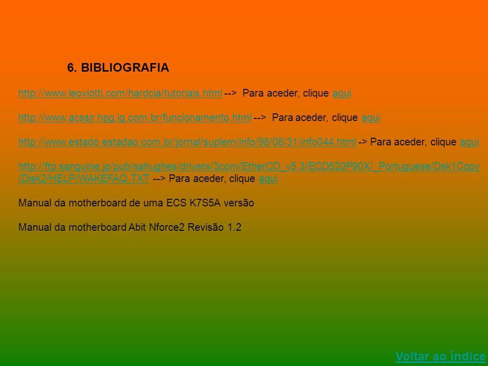 Voltar ao índice 6. BIBLIOGRAFIA http://www.leoviotti.com/hardcia/tutoriais.htmlhttp://www.leoviotti.com/hardcia/tutoriais.html --> Para aceder, cliqu
