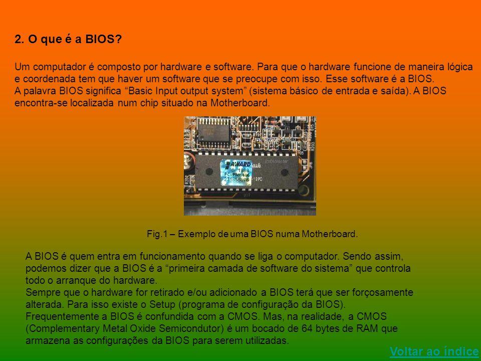 Voltar ao índice 2. O que é a BIOS? Um computador é composto por hardware e software. Para que o hardware funcione de maneira lógica e coordenada tem