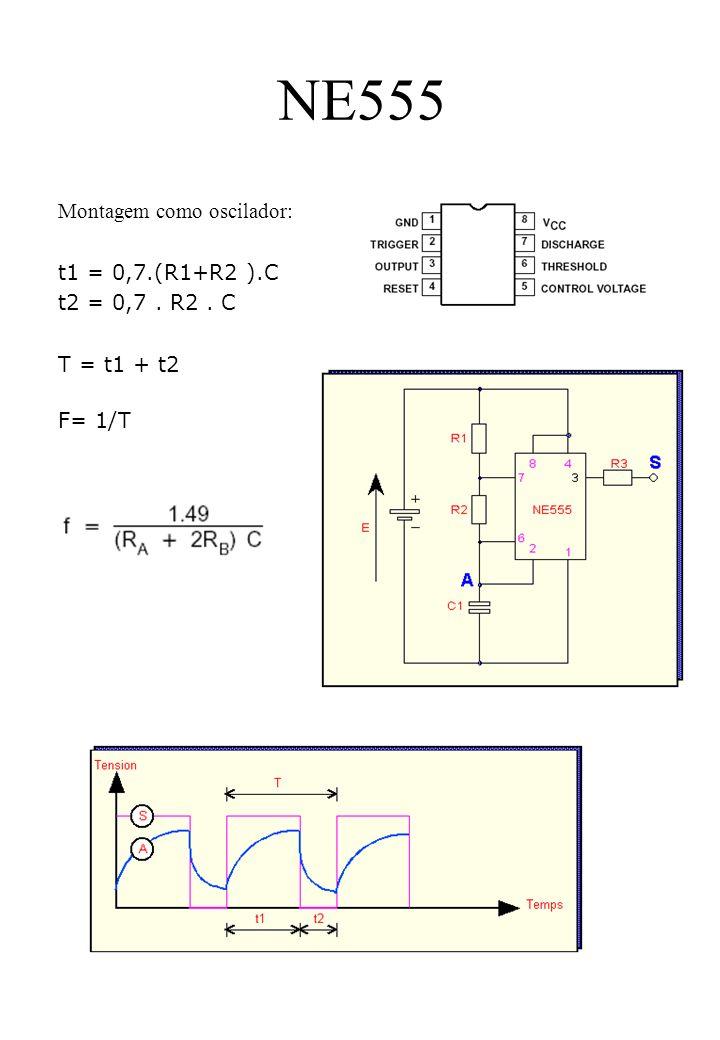 NE555 Montagem como oscilador: t1 = 0,7.(R1+R2 ).C t2 = 0,7. R2. C T = t1 + t2 F= 1/T