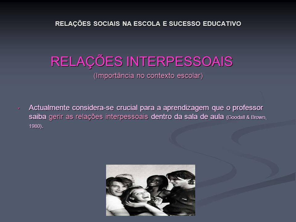 RELAÇÕES SOCIAIS NA ESCOLA E SUCESSO EDUCATIVO RELAÇÕES INTERPESSOAIS RELAÇÕES INTERPESSOAIS (Importância no contexto escolar) Actualmente considera-s