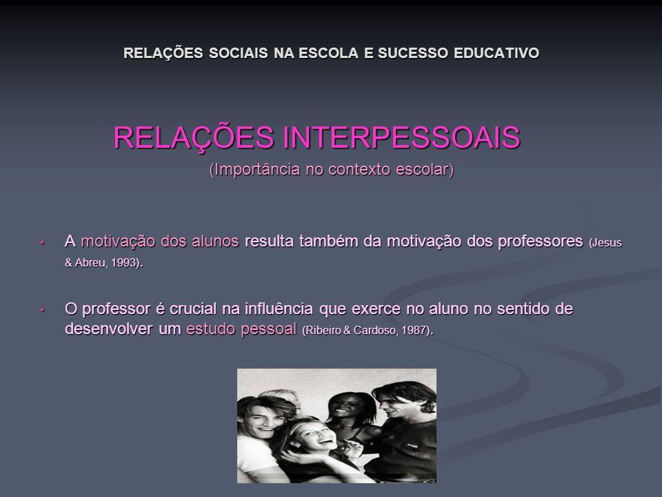 RELAÇÕES SOCIAIS NA ESCOLA E SUCESSO EDUCATIVO RELAÇÕES INTERPESSOAIS RELAÇÕES INTERPESSOAIS (Importância no contexto escolar) A motivação dos alunos
