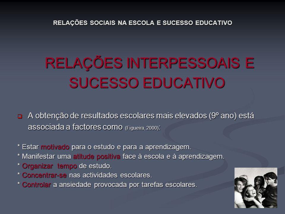 RELAÇÕES SOCIAIS NA ESCOLA E SUCESSO EDUCATIVO RELAÇÕES INTERPESSOAIS E RELAÇÕES INTERPESSOAIS E SUCESSO EDUCATIVO A obtenção de resultados escolares