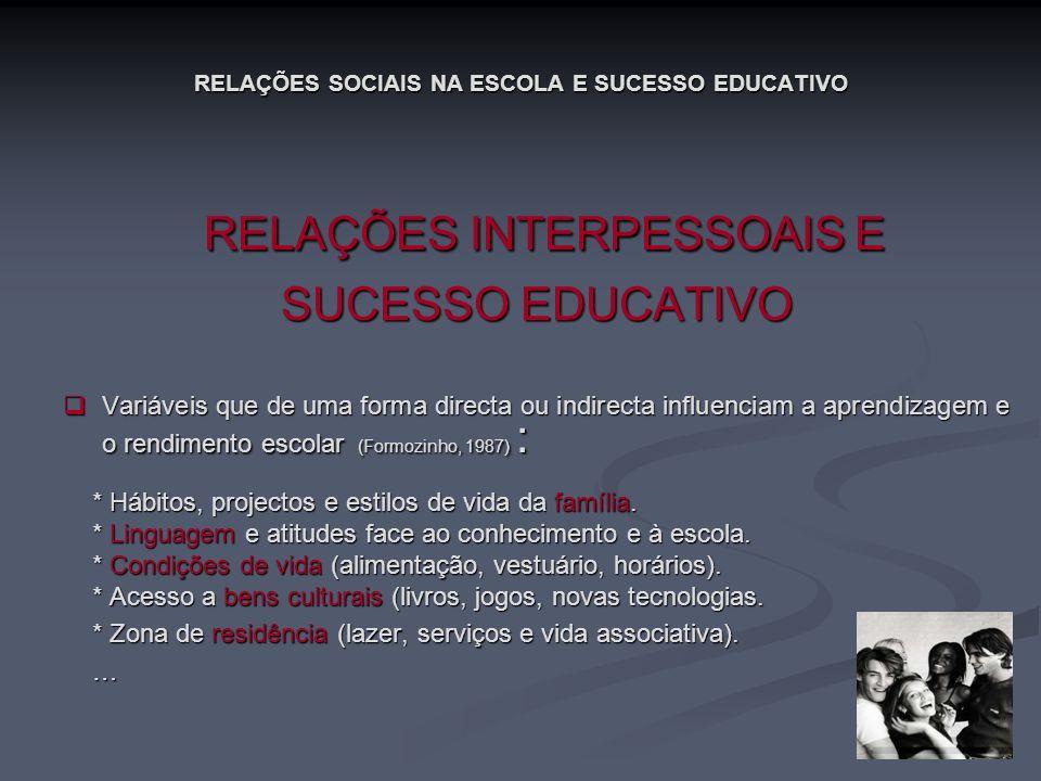 RELAÇÕES SOCIAIS NA ESCOLA E SUCESSO EDUCATIVO RELAÇÕES INTERPESSOAIS E RELAÇÕES INTERPESSOAIS E SUCESSO EDUCATIVO Variáveis que de uma forma directa