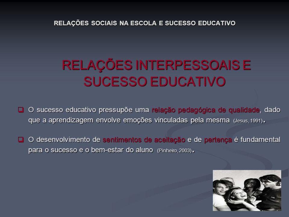 RELAÇÕES SOCIAIS NA ESCOLA E SUCESSO EDUCATIVO RELAÇÕES INTERPESSOAIS E SUCESSO EDUCATIVO RELAÇÕES INTERPESSOAIS E SUCESSO EDUCATIVO O sucesso educati