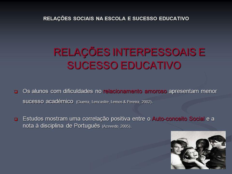 RELAÇÕES SOCIAIS NA ESCOLA E SUCESSO EDUCATIVO RELAÇÕES INTERPESSOAIS E SUCESSO EDUCATIVO RELAÇÕES INTERPESSOAIS E SUCESSO EDUCATIVO Os alunos com dif
