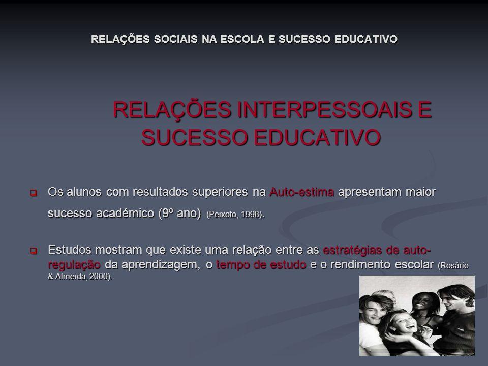 RELAÇÕES SOCIAIS NA ESCOLA E SUCESSO EDUCATIVO RELAÇÕES INTERPESSOAIS E SUCESSO EDUCATIVO RELAÇÕES INTERPESSOAIS E SUCESSO EDUCATIVO Os alunos com res