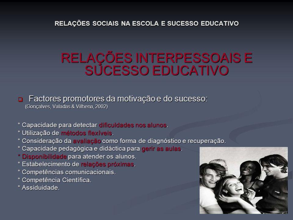 RELAÇÕES SOCIAIS NA ESCOLA E SUCESSO EDUCATIVO RELAÇÕES INTERPESSOAIS E SUCESSO EDUCATIVO RELAÇÕES INTERPESSOAIS E SUCESSO EDUCATIVO Factores promotor