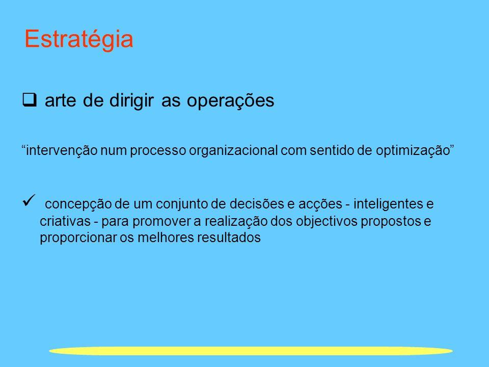 Estratégia arte de dirigir as operações intervenção num processo organizacional com sentido de optimização concepção de um conjunto de decisões e acçõ