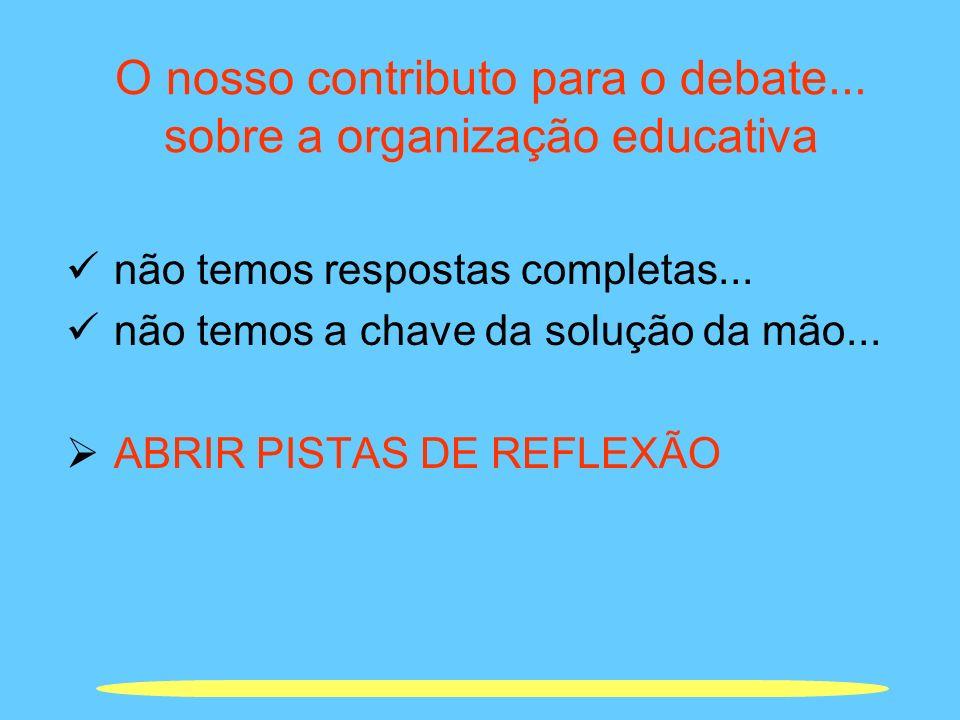 O nosso contributo para o debate... sobre a organização educativa não temos respostas completas... não temos a chave da solução da mão... ABRIR PISTAS