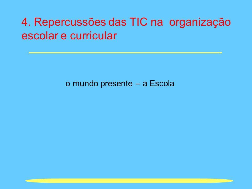 4. Repercussões das TIC na organização escolar e curricular o mundo presente – a Escola