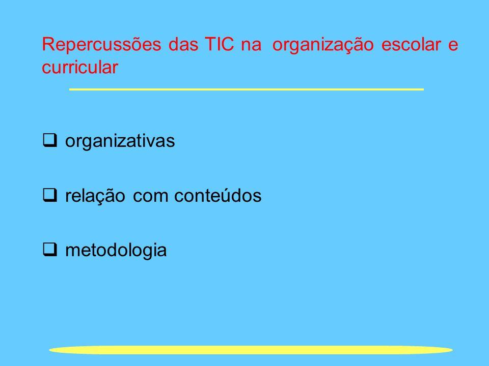 Repercussões das TIC na organização escolar e curricular organizativas relação com conteúdos metodologia