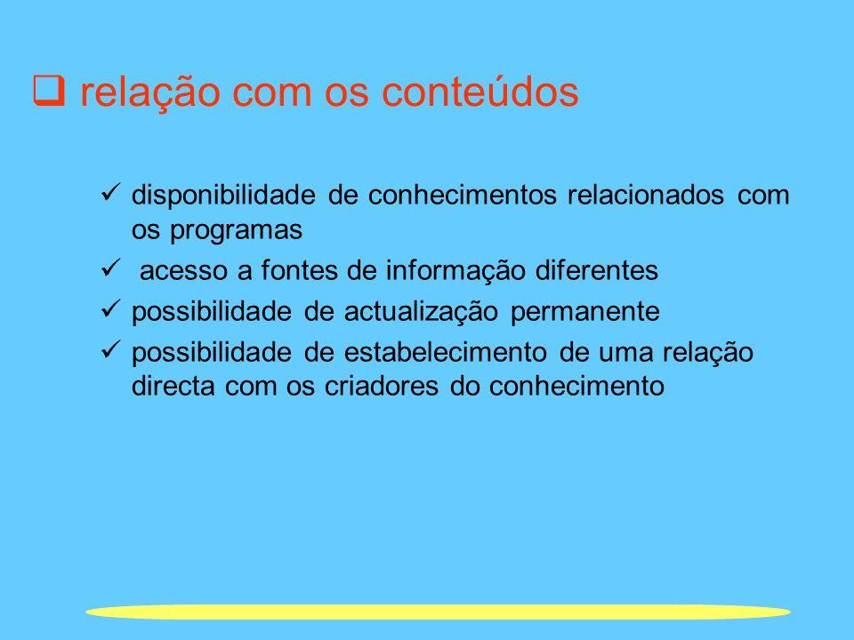 relação com os conteúdos disponibilidade de conhecimentos relacionados com os programas acesso a fontes de informação diferentes possibilidade de actu