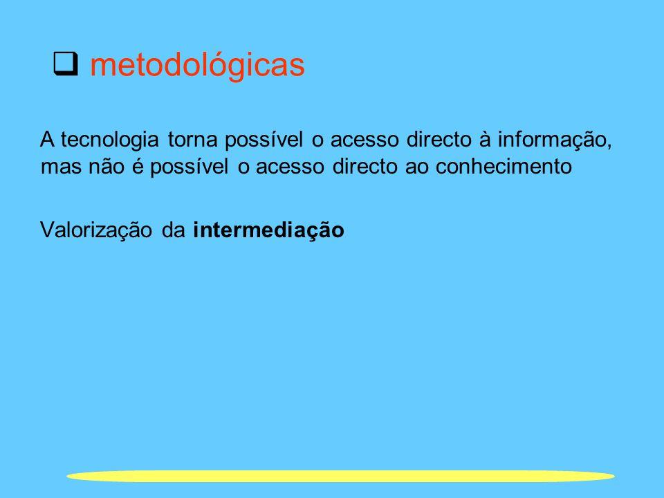 metodológicas A tecnologia torna possível o acesso directo à informação, mas não é possível o acesso directo ao conhecimento Valorização da intermedia