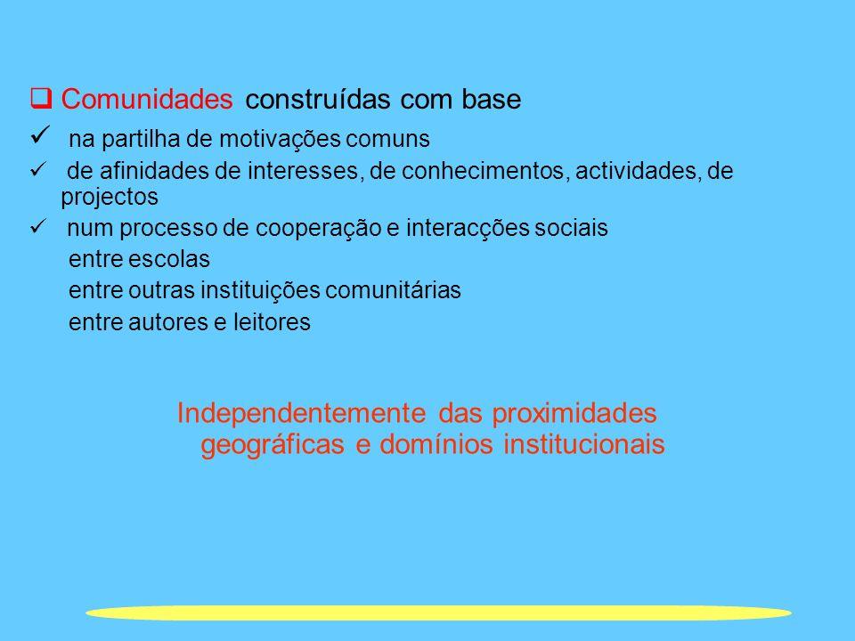 Comunidades construídas com base na partilha de motivações comuns de afinidades de interesses, de conhecimentos, actividades, de projectos num process