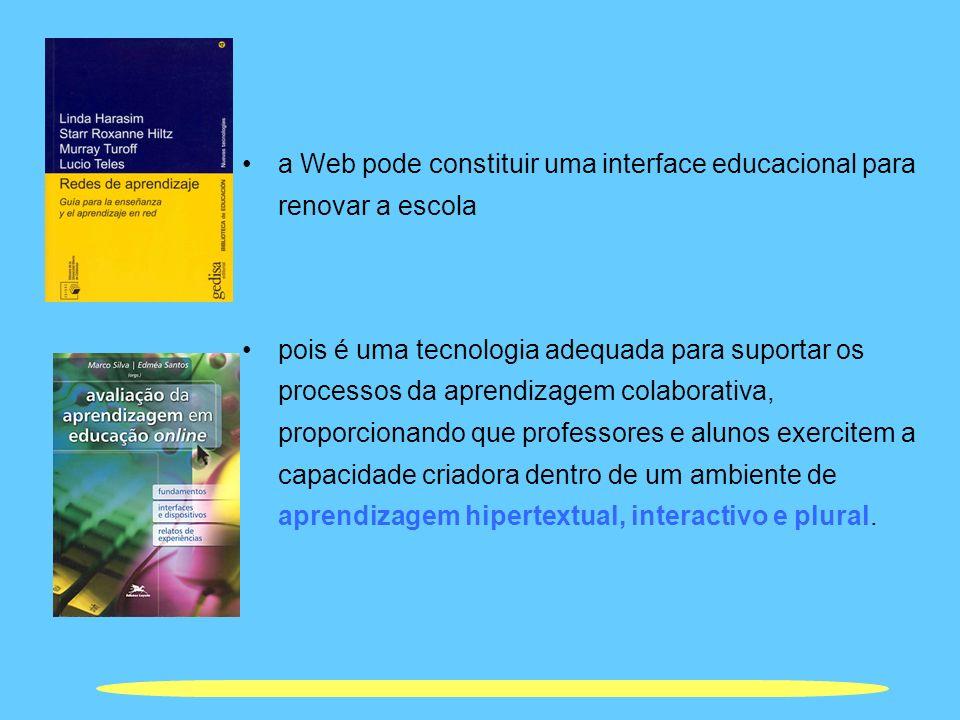 a Web pode constituir uma interface educacional para renovar a escola pois é uma tecnologia adequada para suportar os processos da aprendizagem colabo