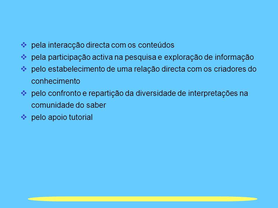 pela interacção directa com os conteúdos pela participação activa na pesquisa e exploração de informação pelo estabelecimento de uma relação directa c